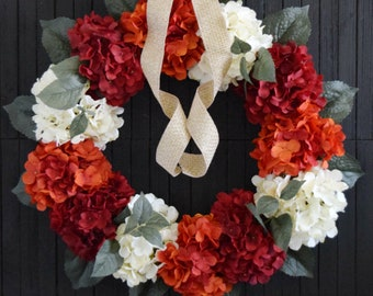 Red Orange and Cream Hydrangea Front Door Wreath for Summer and Fall