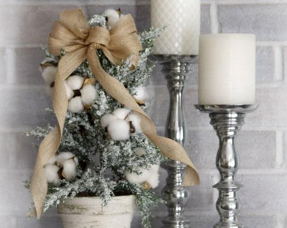 Farmhouse Christmas Tabletop Tree with Cotton Bolls