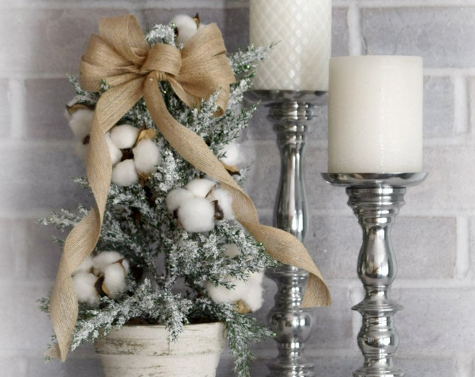 Farmhouse Christmas Tabletop Tree with Cotton Bolls