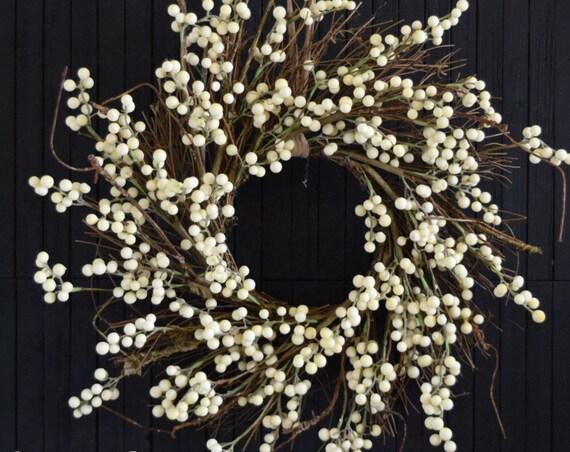 Cream Faux Berry Autumn Front Door Wreath