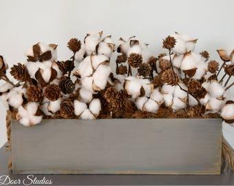 Wood Planter Cotton Stem Centerpiece