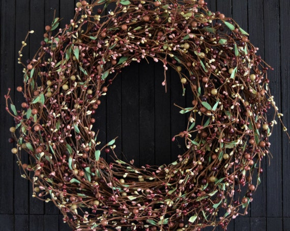 Rose and Burgundy Blended Pip Berry Fall Front Door Wreath