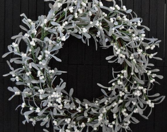 Faux Mistletoe Winter Holiday Front Door Wreath