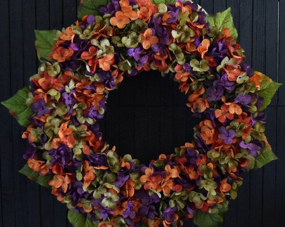 Fall Blended Hydrangea Front Door Wreath for Halloween or Thanksgiving - Orange, Purple, and Green