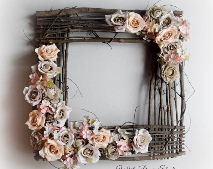 Gray and Blush Floral Square Front Door Wreath or Wall Hanging