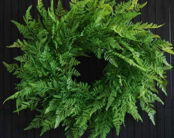 Artificial Fern Wreath - Year Round Greenery Front Door Wreath