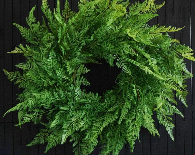 Artificial Fern Wreath - Year Round Greenery Front Door Wreath