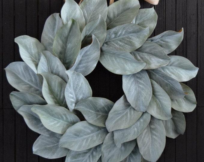 Whitewashed Magnolia Leaf Wreath