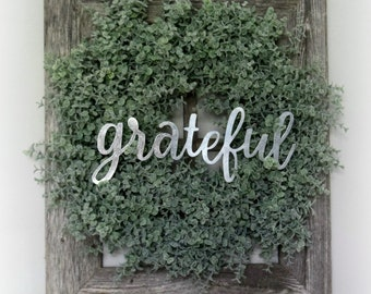 Barn Wood Window Frame with Boxwood Wreath and Metal Word Rustic Farmhouse Wall Hanging