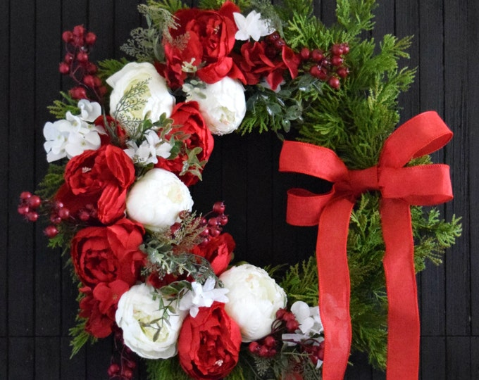 Christmas Peony and Cedar Front Door Wreath