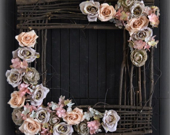 Square Pastel Gray and Blush Floral Front Door Wreath or Wall Hanging