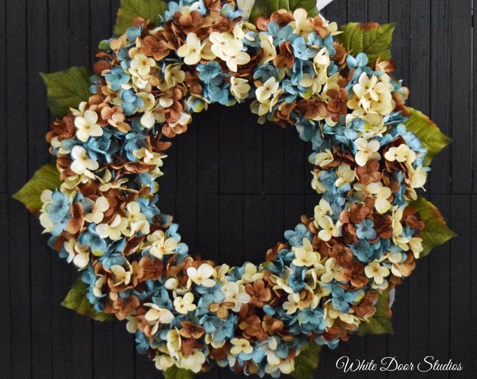 Fall and Winter Blended Hydrangea Front Door Wreath - French Blue, Brown and Cream