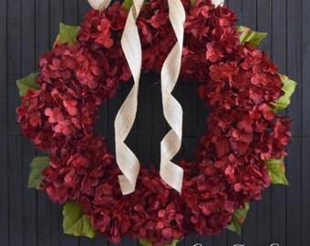 Red Hydrangea Year Round Front Door Wreath - Christmas Valentines Day Decor