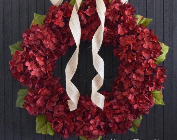 Red Hydrangea Year Round Front Door Wreath