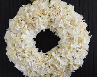 Cream Hydrangea Wreath for Front Door or Wedding Decor