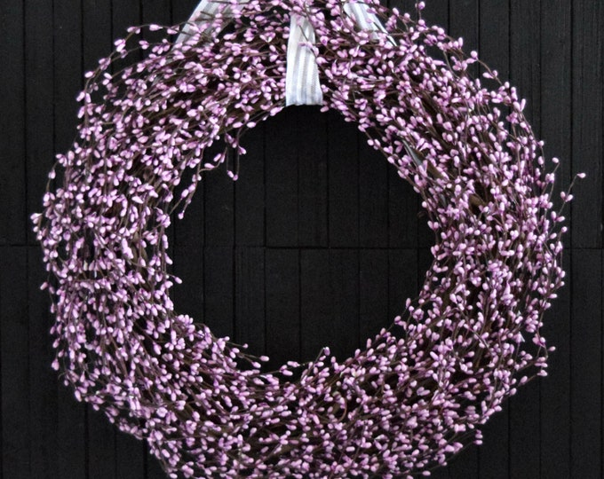 Pale Lilac Pip Berry Front Door Wreath