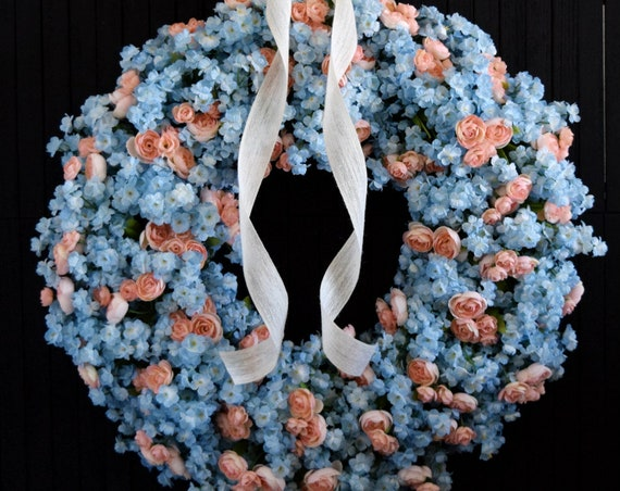 Light Blue and Blush Pink Floral Spring and Summer Front Door Wreath