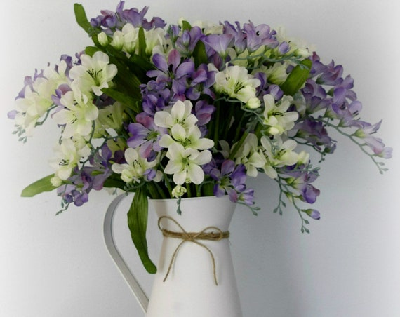 Purple and White Freesia Farmhouse Floral Arrangement in Rustic White Pitcher
