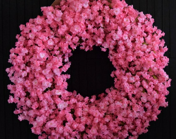 Light Pink Ruffle Flower Spring and Summer Front Door Wreath