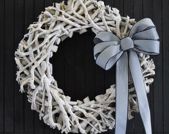 White Driftwood Style Coastal Beach Wreath with Striped Loopy Bow