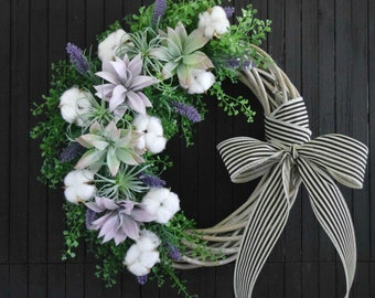 Cotton and Succulent Spring and Summer Front Door Wreath with Greenery and Lavender - Modern Farmhouse Wreath