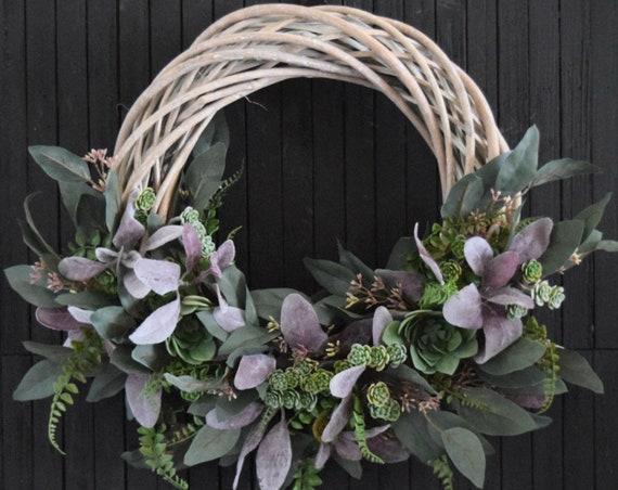 Modern Succulent and Greenery Wreath