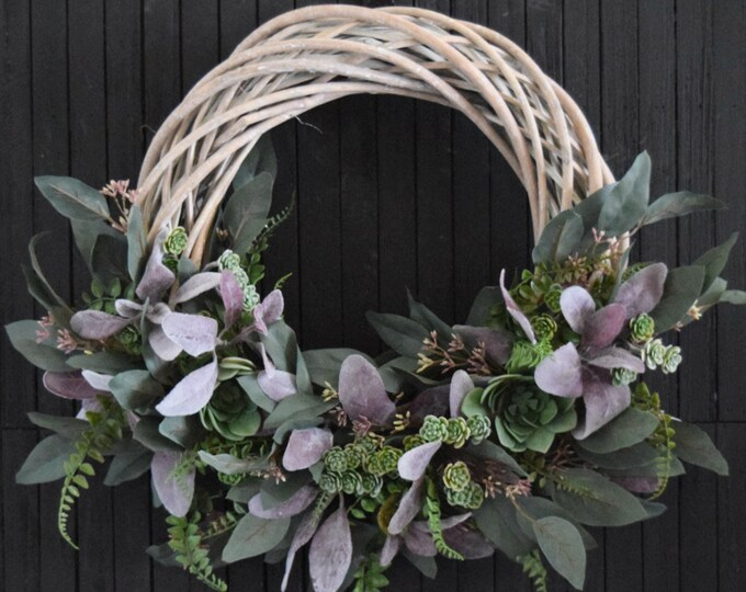 Modern Succulent and Greenery Wreath