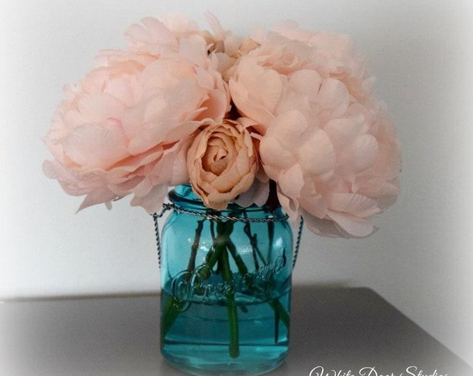Blush Pink Peony Arrangement in Turquoise Blue Mason Jar Vase