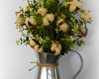 Tea Stained Cotton and Eucalyptus Farmhouse Style Arrangement in Galvanized Metal Pitcher