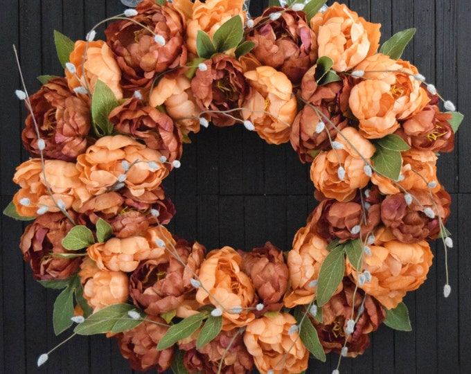 Coffee and Orange Peony Fall Front Door Wreath