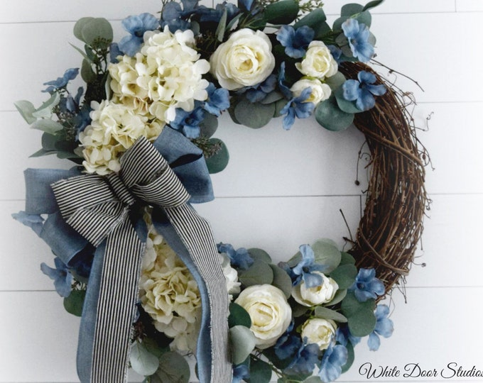 Blue and Cream Floral Spring and Summer Front Door Wreath - Easter Wreath - Mothers Day Gift