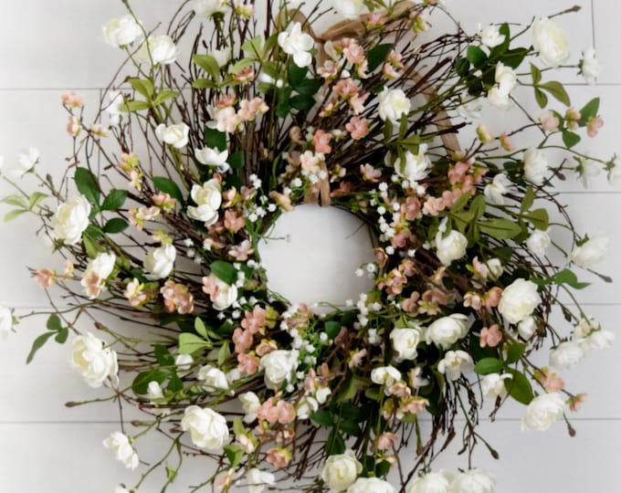 White Tea Rose and Blush Peach Blossom Spring and Summer Front Door Wreath - FREE SHIPPING - Over the Bed or Fireplace Wreath