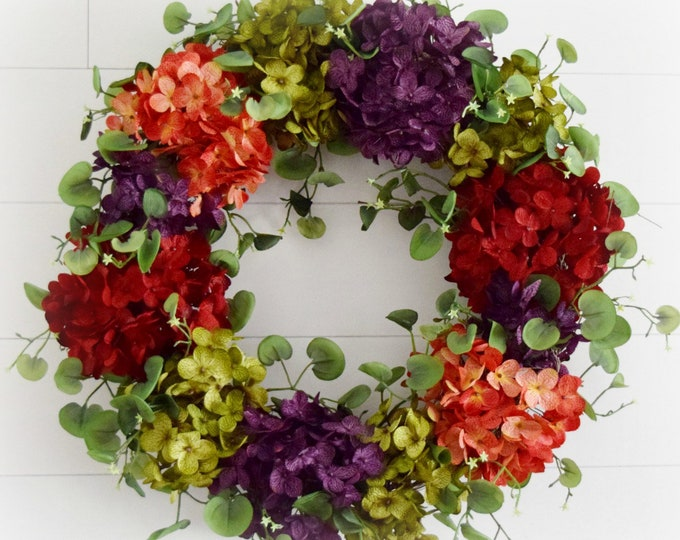 Summer Hydrangea Front Door Wreath