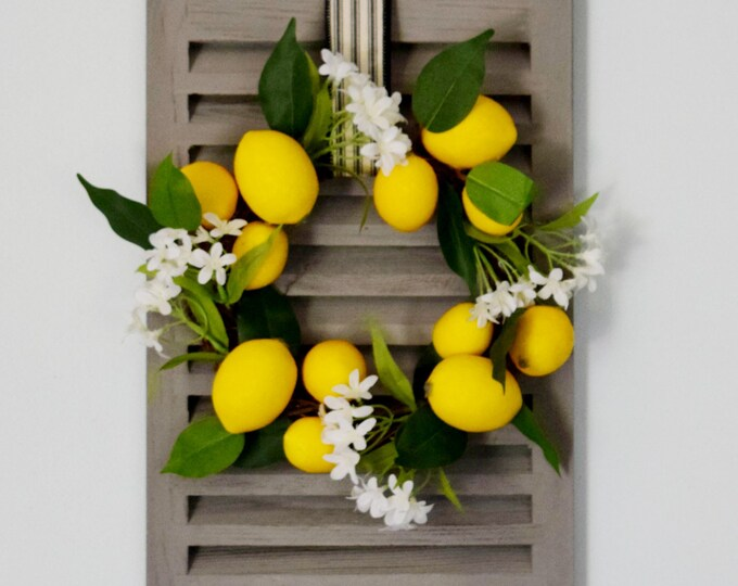 Mini Lemon Wreath with Decorative Shutter Wall Decor - Lemon Kitchen Dining Farmhouse Decor