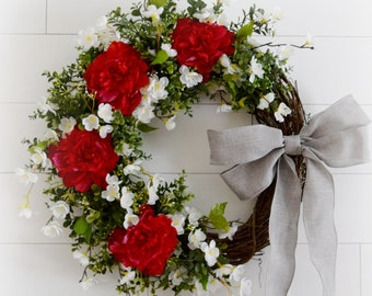 Ready to Ship Red Peony and White Cherry Blossom Spring and Summer Front Door Wreath with Faux Boxwood Greenery - Mothers Day Gift