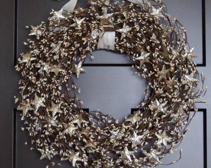 Holiday Berries and Stars Front Door Wreath - Champagne Gold Christmas Glitter Berry and Star Wreath