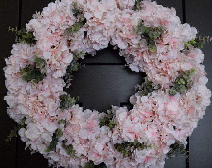 Blush Pink Hydrangea Spring Front Door Wreath with Eucalyptus Greenery