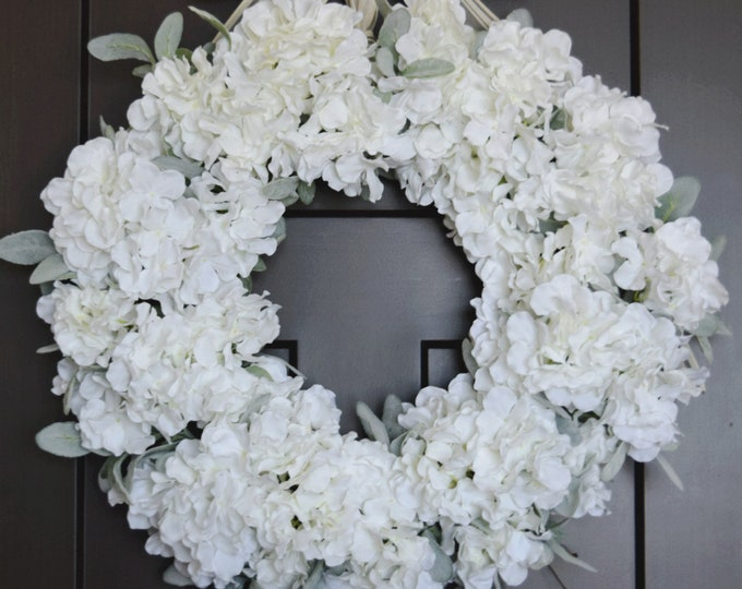 White Hydrangea and Lambs Ear Front Door Wreath - Spring and Summer Romantic Farmhouse Wreath - Wedding Wreath