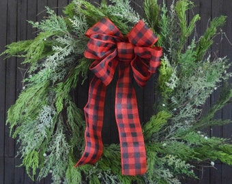 Farmhouse Christmas Mixed Evergreen Wreath with Buffalo Plaid Bow - Over the Fireplace Wreath for Christmas