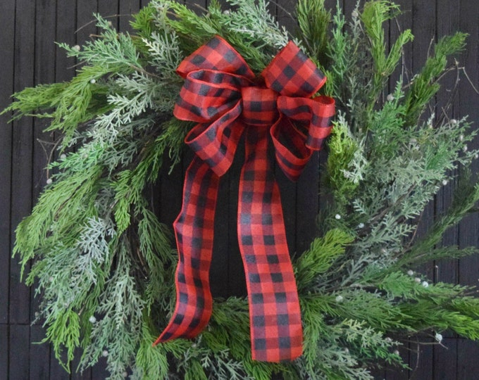 Farmhouse Christmas Evergreen Wreath with Buffalo Check Bow