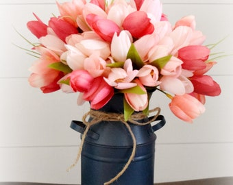 Silk Tulip Arrangement in Navy Blue Metal Milk Can - Rustic Pink and Navy Farmhouse Floral Arrangement