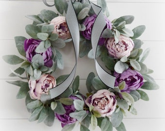 Purple Peony and Lambs Ear Spring and Summer Front Door Wreath
