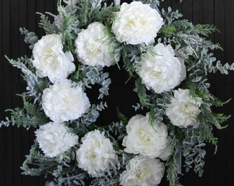 Winter White Peony and Frosted Greenery Front Door Wreath - Oversized Christmas Door or Fireplace Wreath