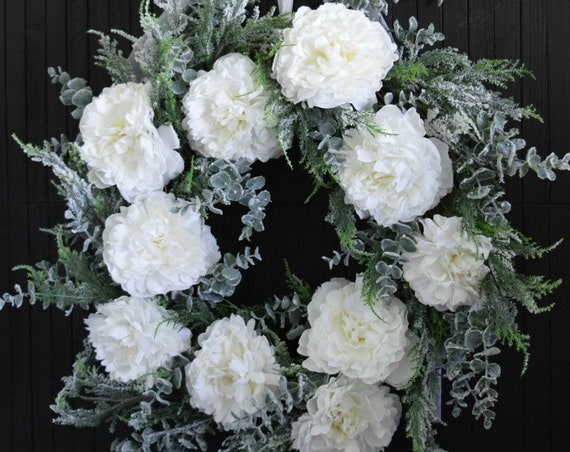 Winter White Peony and Evergreen Holiday Front Door Wreath