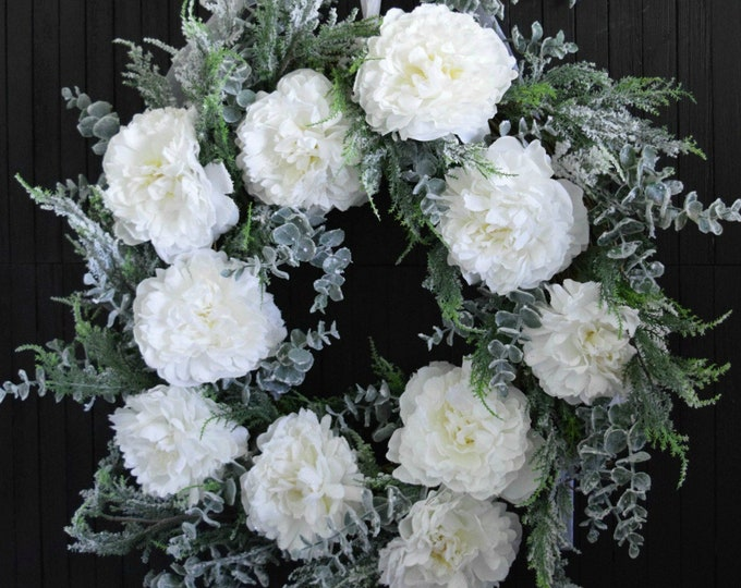 Winter White Peony and Evergreen Christmas Holiday Front Door Wreath