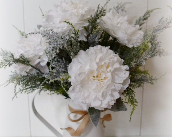 White Peony and Frosted Cedar Farmhouse Christmas Centerpiece Arrangement