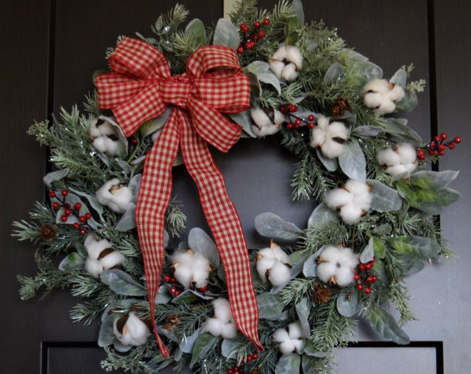 Farmhouse Christmas Wreath - Pine Cotton Lambs Ear Winter Holiday Door Wreath - Rustic Farmhouse Christmas Decor