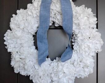 White Hydrangea Winter Wreath for Front Door