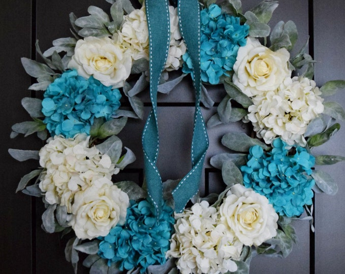 Turquoise Blue and White Winter Hydrangea and Rose Holiday Front Door Wreath