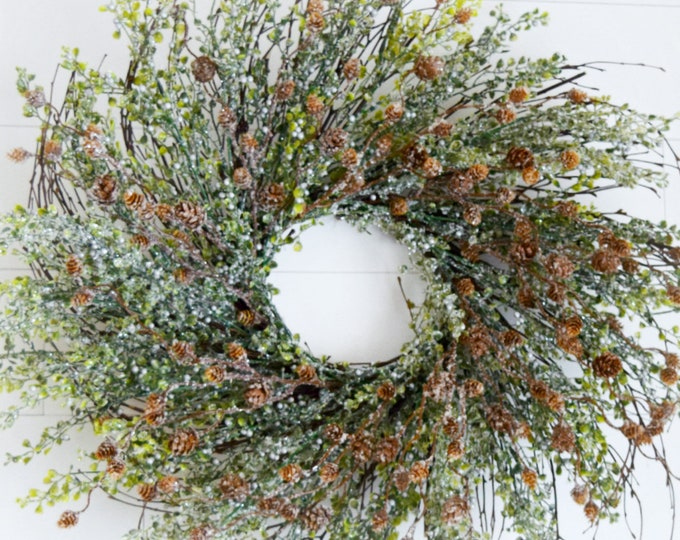 Winter Frosted Boxwood Front Door Wreath - Rustic Christmas Decor